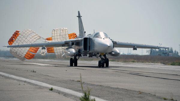 Russia's Su-24 bomber lands at the Hmeymim air base in Latakia, Syria. File photo - Sputnik International