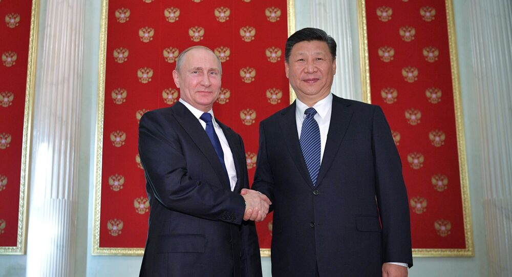 July 3, 2017. President Vladimir Putin and President of China Xi Jinping (right) during their meeting in the Kremlin.