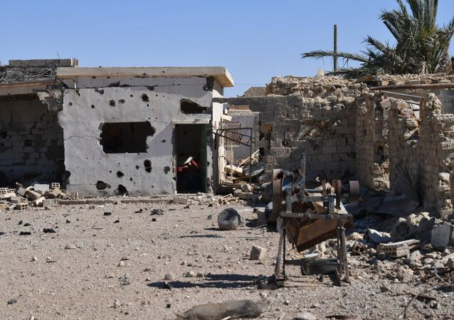 A destroyed house in Syria