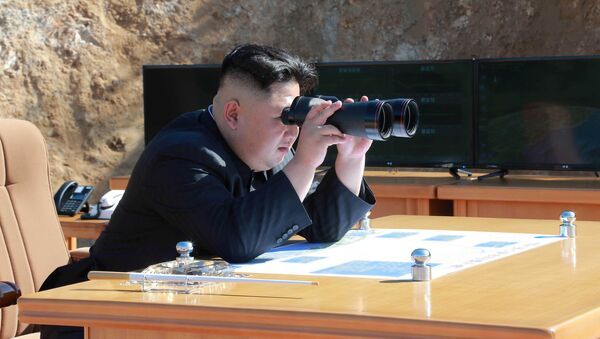 North Korean Leader Kim Jong Un looks on during the test-fire of inter-continental ballistic missile Hwasong-14 in this undated photo released by North Korea's Korean Central News Agency (KCNA) in Pyongyang, July, 4 2017. - Sputnik International
