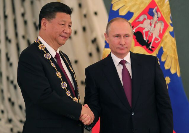 July 4, 2017.  Russian President Vladimir Putin meets with People's Republic of China President Xi Jinping in Moscow.