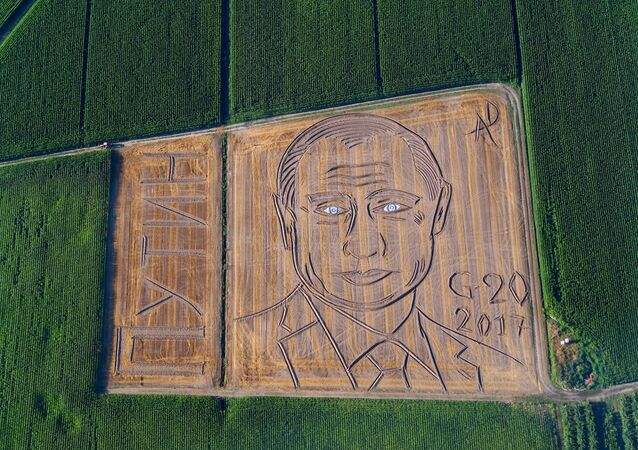 Giant portrait of Russian President Vladimir Putin appeared in a field in Castagnaro, near the northern Italian city of Verona