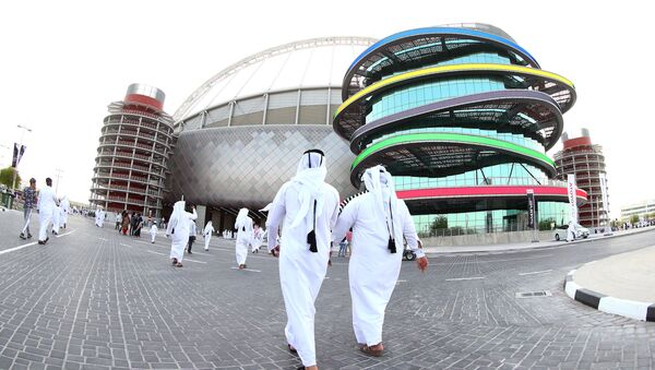 A picture taken with a fisheye lens on May 19, 2017, shows a general view of the Khalifa International Stadium in Doha, after it was refurbished ahead of the Qatar 2022 FIFA World Cup, as fans arrive to attend the Qatar Emir Cup Final football match between Al-Sadd and Al-Rayyan - Sputnik International