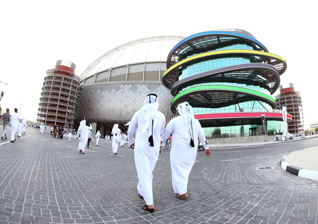 A picture taken with a fisheye lens on May 19, 2017, shows a general view of the Khalifa International Stadium in Doha, after it was refurbished ahead of the Qatar 2022 FIFA World Cup, as fans arrive to attend the Qatar Emir Cup Final football match between Al-Sadd and Al-Rayyan