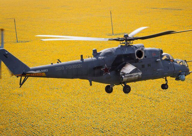 Mi 35M helicopters on training flights in Krasnodar Territory