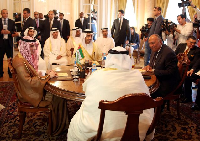 Saudi Foreign Minister Adel al-Jubeir (2-L), UAE Foreign Minister Abdullah bin Zayed al-Nahyan (L), Egyptian Foreign Minister Sameh Shoukry (R), and Bahraini Foreign Minister Khalid bin Ahmed al-Khalifa (2-R) meet to discuss the diplomatic situation with Qatar, in Cairo, Egypt, July, 5 2017