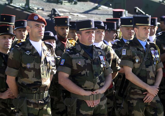 French soldiers look on during a visit of the French Prime Minister at the military base in Tapa, Estonia June 29, 2017