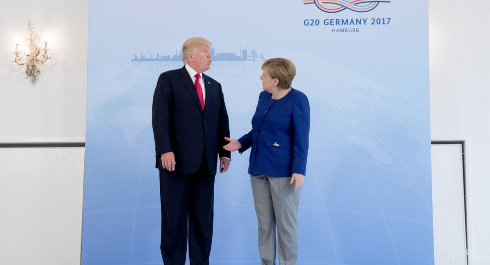 German Chancellor Angela Merkel meets U.S. President Donald Trump on the eve of the G-20 summit in Hamburg, Germany, July 6, 2017