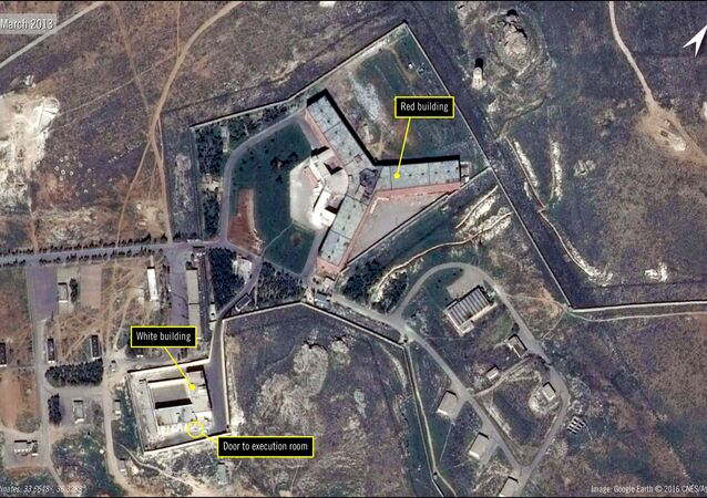 A handout satellite image released by The French national Space study centre (CNES) and the ASTRIUM, the aerospace maufacture subsiduary of the European Aeronautic Defence and Space Company (EADS) and received from Amnesty International on February 7, 2017 by shows the military-run Saydnaya prison, one of Syria's largest detention centres located 30 kilometres (18 miles) north of Damascus.
