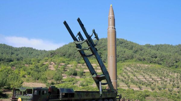 The intercontinental ballistic missile Hwasong-14 is seen in this undated photo released by North Korea's Korean Central News Agency (KCNA) in Pyongyang July 5, 2017 - Sputnik International