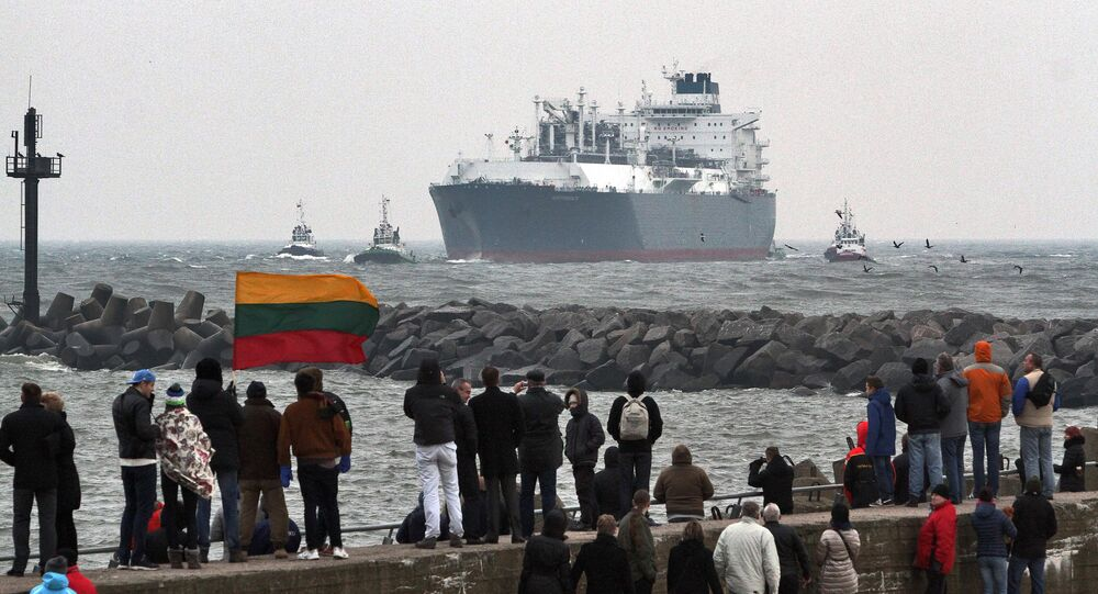 This first liquefied natural gas (LNG) terminal Independence comes through the sea gate port of Klaipeda on October 27, 2014