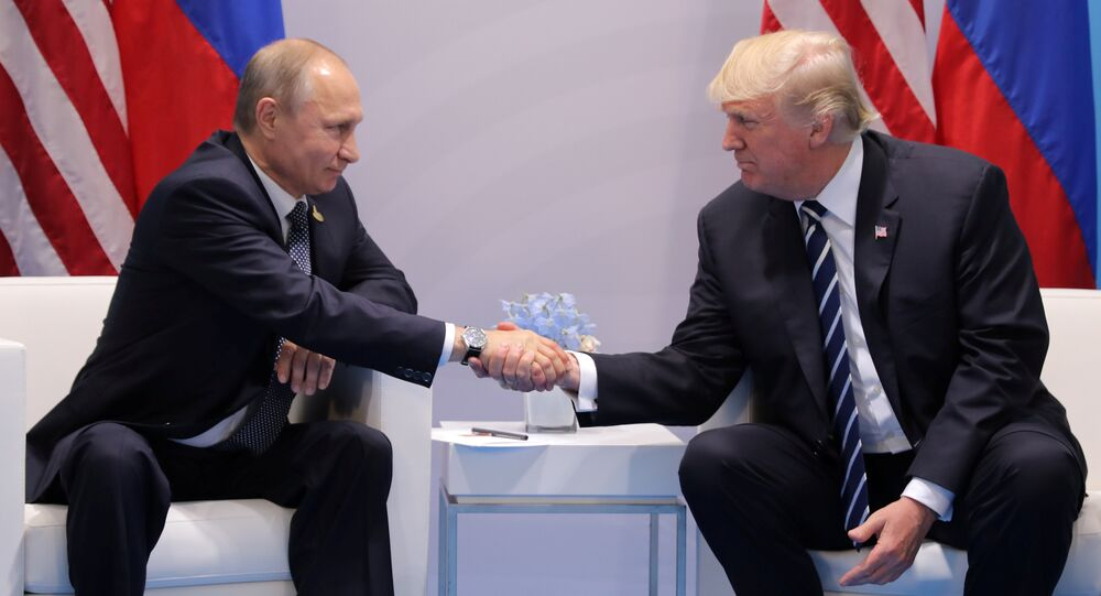 U.S. President Donald Trump shakes hands with Russia's President Vladimir Putin during their bilateral meeting at the G20 summit in Hamburg, Germany July 7, 2017