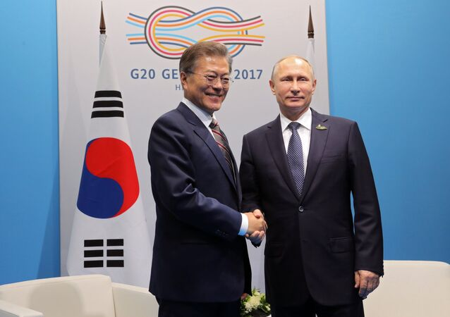 Russian President Vladimir Putin and his South Korean counterpart Moon Jae-in are meeting on the sidelines of the G20 summit in Germany's Hamburg