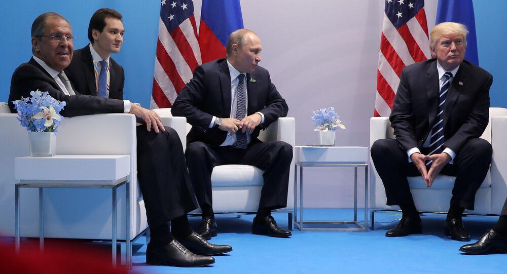U.S. President Donald Trump meets with Russian President Vladimir Putin at the G20 summit in Hamburg, Germany July 7, 2017