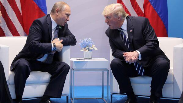 U.S. President Donald Trump speaks with Russian President Vladimir Putin during the their bilateral meeting at the G20 summit in Hamburg, Germany July 7, 2017 - Sputnik International