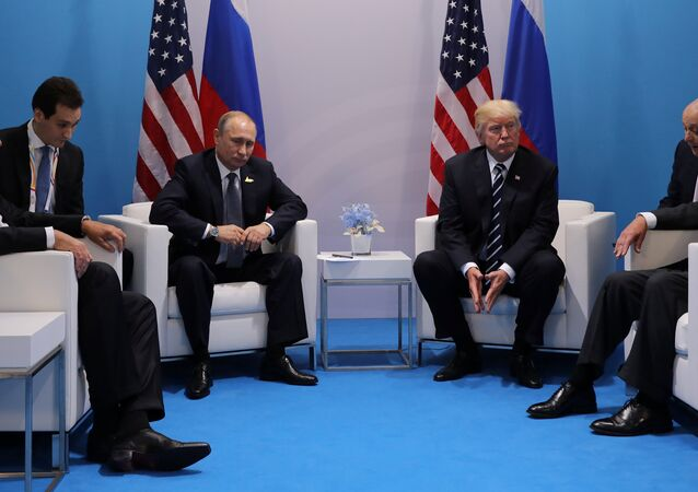 Russia's President Vladimir Putin sits next to U.S. President Donald Trump during their bilateral meeting at the G20 summit in Hamburg, Germany July 7, 2017