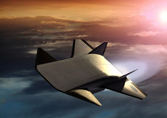 An artist's rendering of the air-breathing, hypersonic X-43B, the third and largest of NASA's Hyper-X series flight demonstrators, which could fly later this decade.