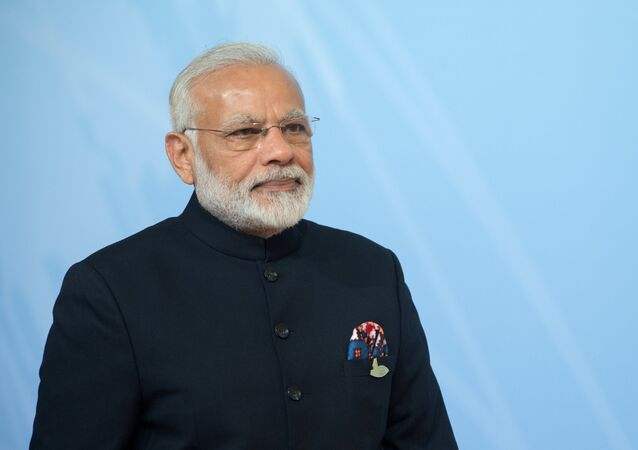 Indian Prime Minister Narendra Modi at the official welcome of G20 leaders, guest countries and international organizations by German Chancellor Angela Merkel in Hamburg