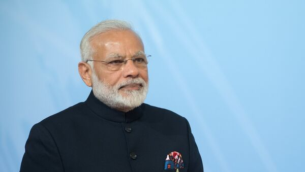 Indian Prime Minister Narendra Modi at the official welcome of G20 leaders, guest countries and international organizations by German Chancellor Angela Merkel in Hamburg - Sputnik International