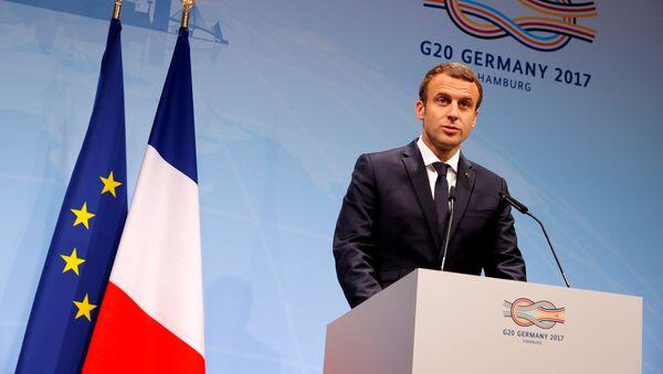 French President Emmanuel Macron speaks during the press conference at the G20 leaders summit in Hamburg, Germany July 8, 2017 - Sputnik International