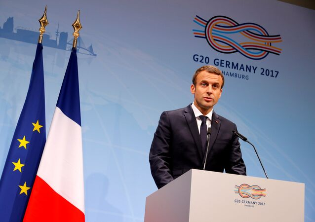 French President Emmanuel Macron speaks during the press conference at the G20 leaders summit in Hamburg, Germany July 8, 2017