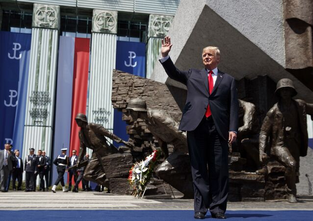 President Donald Trump waves as he arrives to deliver a speech at Krasinski Square at the Royal Castle, Thursday, July 6, 2017, in Warsaw
