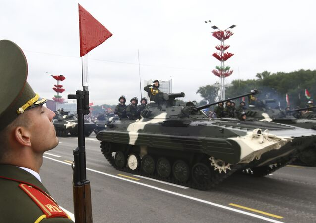 Belarussian servicemen take part in a military parade, part of celebrations marking the Independence Day in Minsk, Belarus July 3, 2017