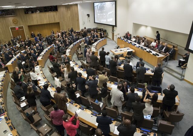 Delegates give a standing ovation after a vote by the conference to adopt a legally binding instrument to prohibit nuclear weapons, leading towards their total elimination, Friday, July 7, 2017 at United Nations headquarters