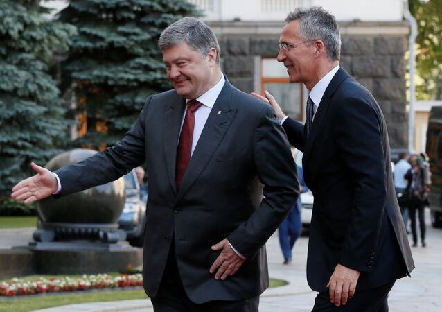 Ukrainian President Petro Poroshenko and NATO Secretary General Jens Stoltenberg walk before a meeting in Kiev, Ukraine, July 10, 2017.