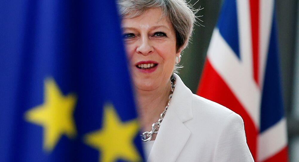 British Prime Minister Theresa May arrives at the EU summit in Brussels, Belgium, June 23, 2017.