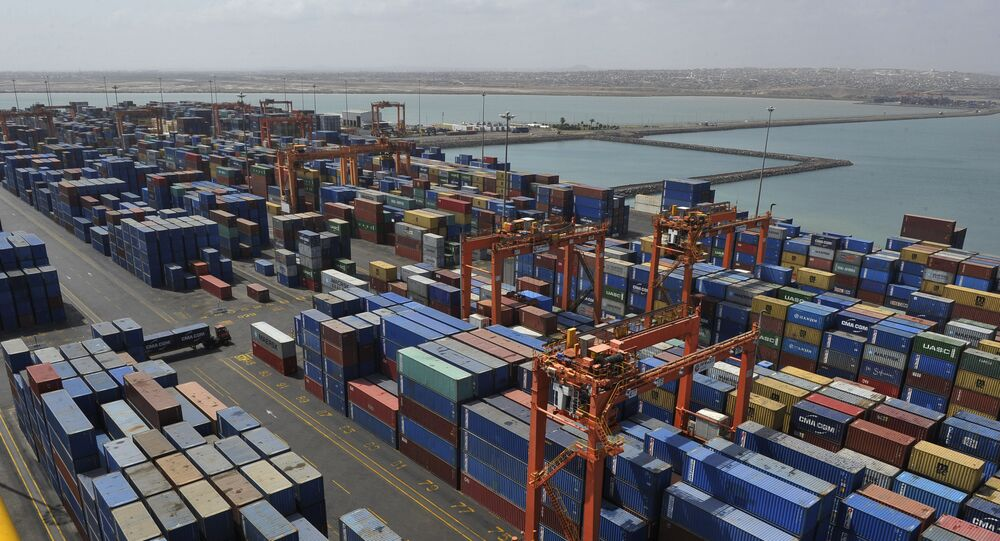 A picture shows containers and a general view of the port of Djibouti, on March 27, 2016.