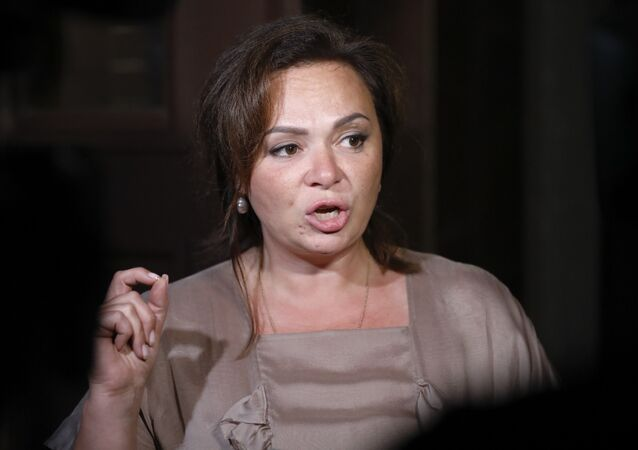 Natalia Veselnitskaya speaks to journalists in Moscow, Russia, Tuesday, July 11, 2017.