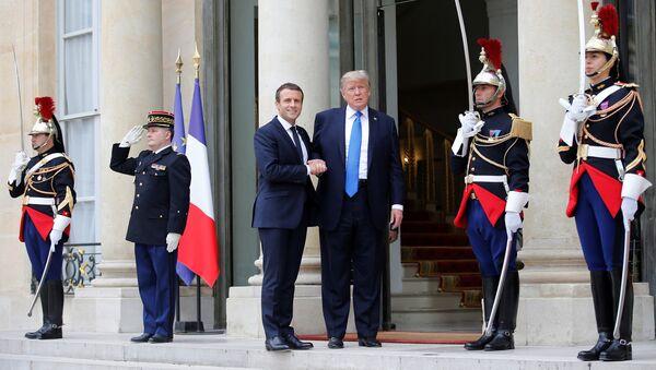 French President Emmanuel Macron greets U.S. President Donald Trump at the Elysee Palace in Paris, France, July 13, 2017. - Sputnik International
