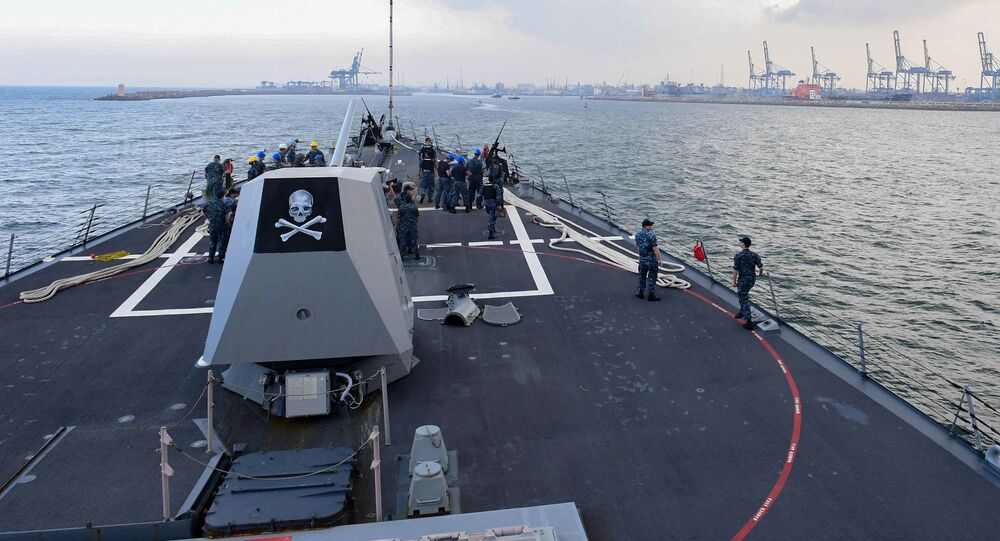 The Arleigh Burke-class guided-missile destroyer USS Kidd (DDG 100) arrives in India for Malabar July 9, 2017