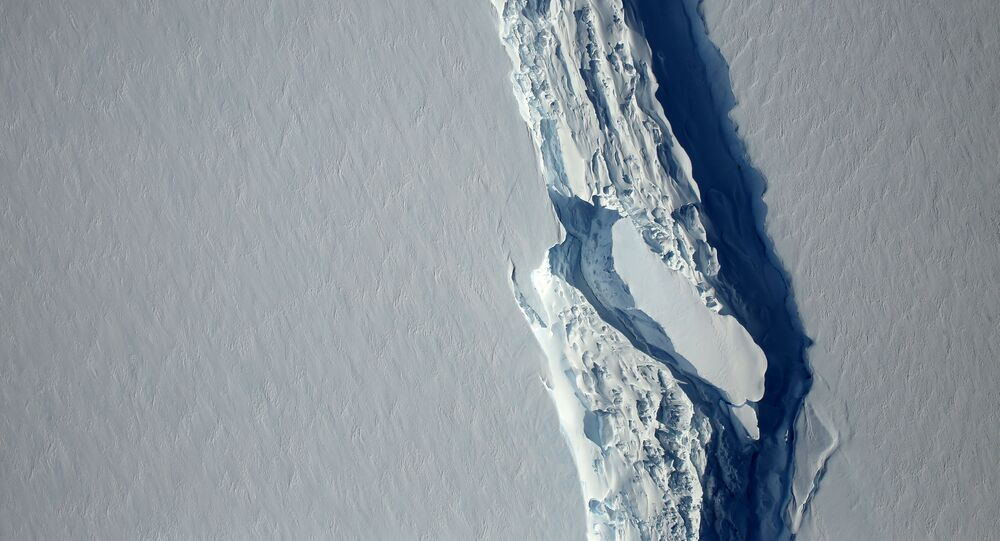 An aerial view of the rift in the Larsen C seen in an image from the Digital Mapping System over the Antarctica Peninsula, Antarctica, on November 10, 2016