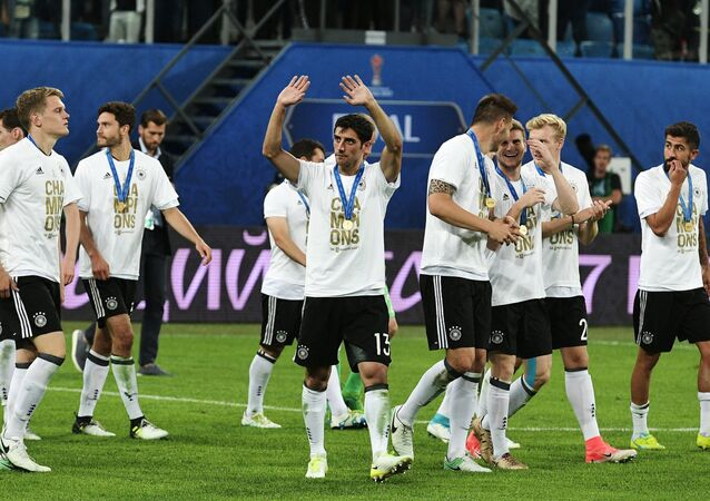Germany's national team, the winner of the 2017 FIFA Confederations Cup, during the medal ceremony following the final match between Chile and Germany