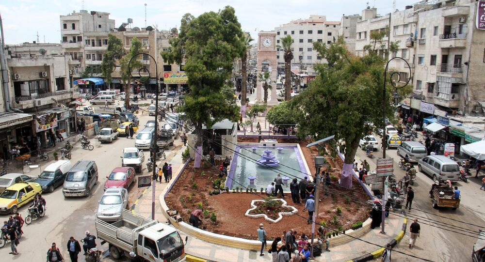 A picture taken on May 24, 2017 shows a general view of a square in the northern Syrian city of Idlib