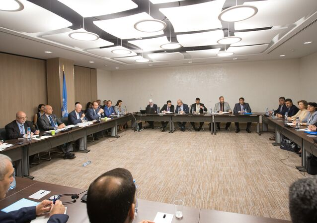 UN Special Envoy of the Secretary-General for Syria Staffan de Mistura (3rd L) attends a new round of negotiation with Syria's main opposition High Negotiations Committee (HNC) leader Nasr al-Hariri during the Intra Syria talks, at Palais des Nations in Geneva, Switzerland July 14, 2017