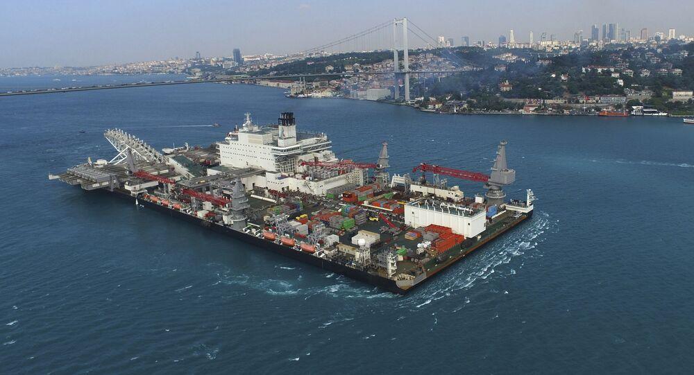 The 'Pioneering Spirit' vessel crosses the Bosphorus Strait in Istanbul, Wednesday, May 31, 2017