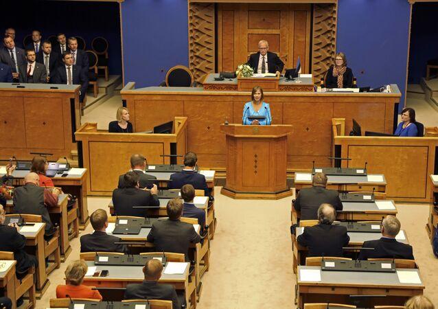 Kersti Kaljulaid speaks in the Estonian parliament in Tallinn, Estonia, Monday, Oct. 3, 2016