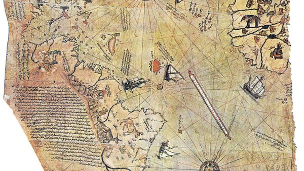 Map of the world by Ottoman admiral Piri Reis, drawn in 1513. Only half of the original map survives and is held at the Topkapi Museum in Istanbul. - Sputnik International