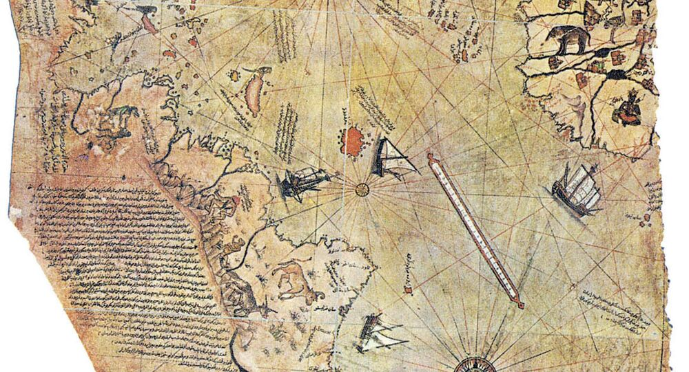 Map of the world by Ottoman admiral Piri Reis, drawn in 1513. Only half of the original map survives and is held at the Topkapi Museum in Istanbul.