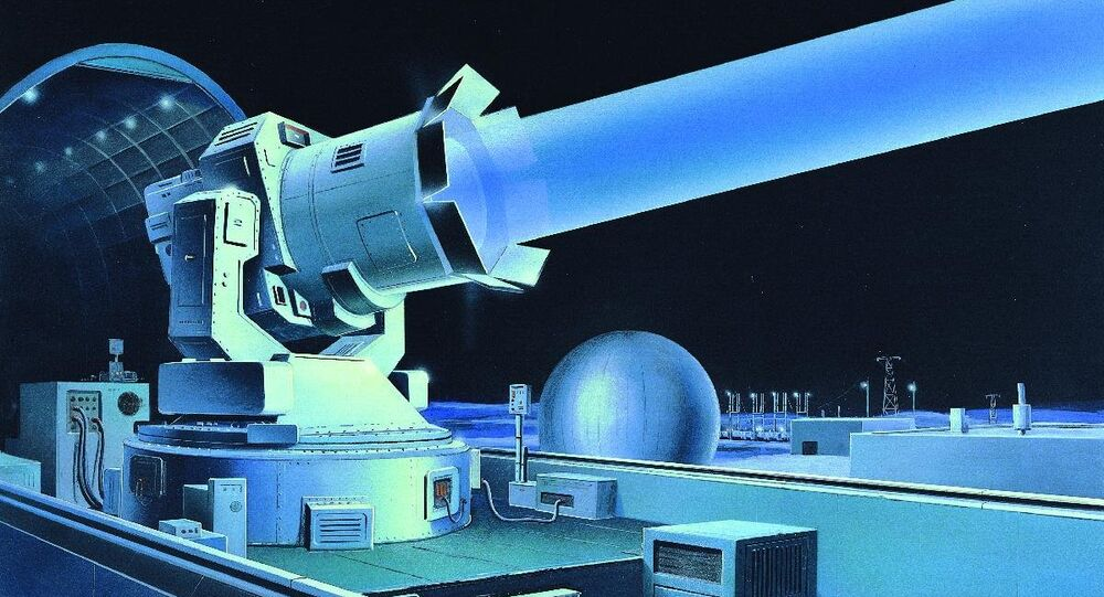 SOVIET GROUND-BASED LASER The Soviet Strategic Defense Program involved extensive research on advanced technologies in the 1980s. The USSR already had ground-based lasers, conceptually illustrated here, capable of interfering with some US satellites