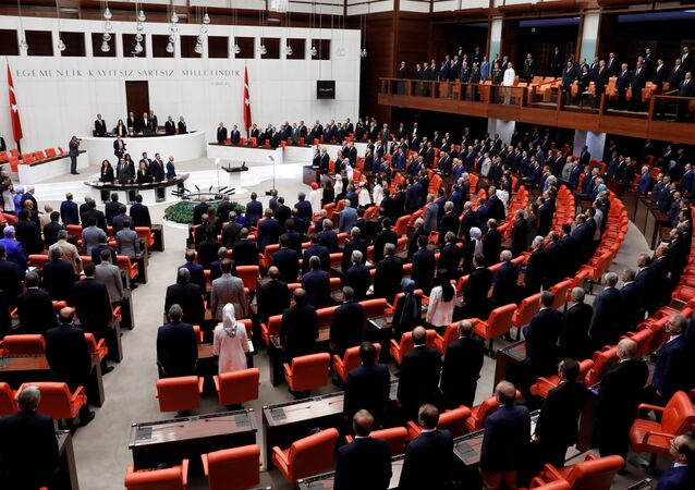 Turkish Parliament convenes to commemorate the attempted coup on its first anniversary at the Turkish parliament in Ankara, Turkey July 15, 2017