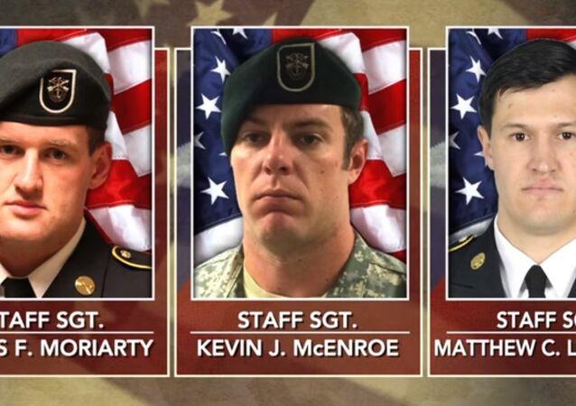 Staff Sgt. Kevin J. McEnroe, Staff Sgt. Matthew C. Lewellen and Staff Sgt. James F. Moriarty. Three US Green Berets killed by a Jordanian soldiers.
