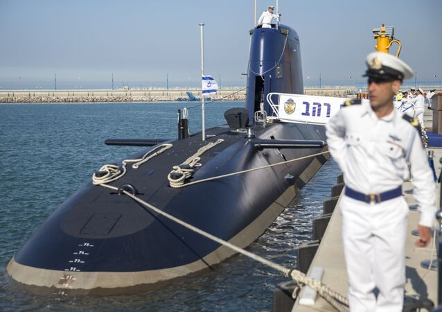 The German-made INS Rahav, the fifth Israeli Navy submarine, arrives at the military port of Haifa on January 12, 2016. In September 2015, Israel received delivery of the fourth Dolphin 2 class submarines from Germany. A third of the cost was funded by Germany as part of its military aid to Israel. The submarines, the most sophisticated in Israel's fleet, can be equipped with missiles armed with nuclear warheads.