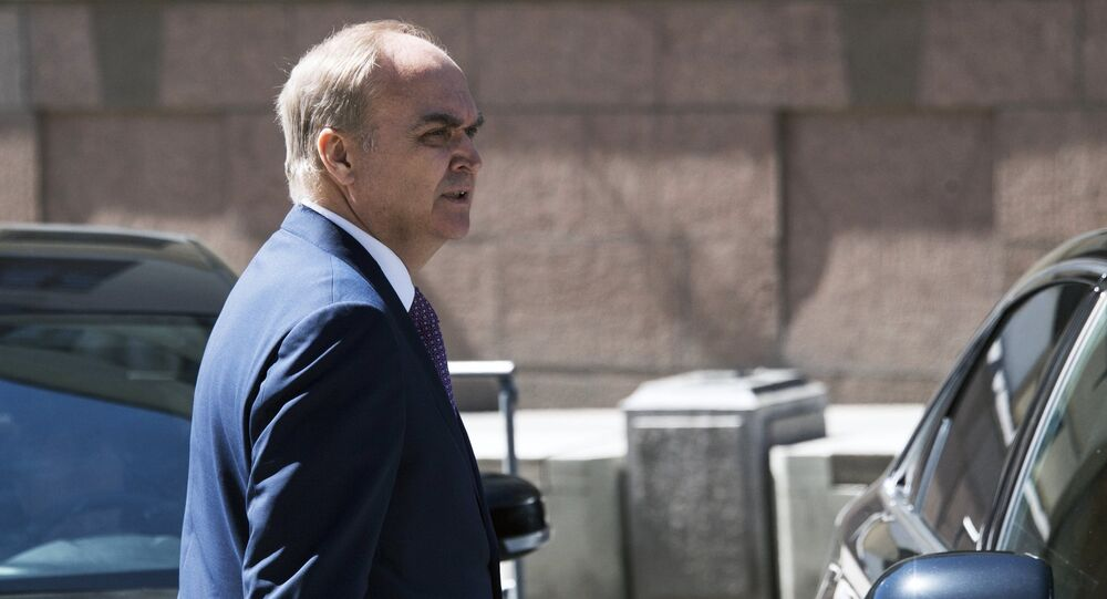 Russian Deputy Foreign Minister Anatoly Antonov near the Russian Federation Council building, where he arrived to be considered for the position of Russian ambassador to the US.