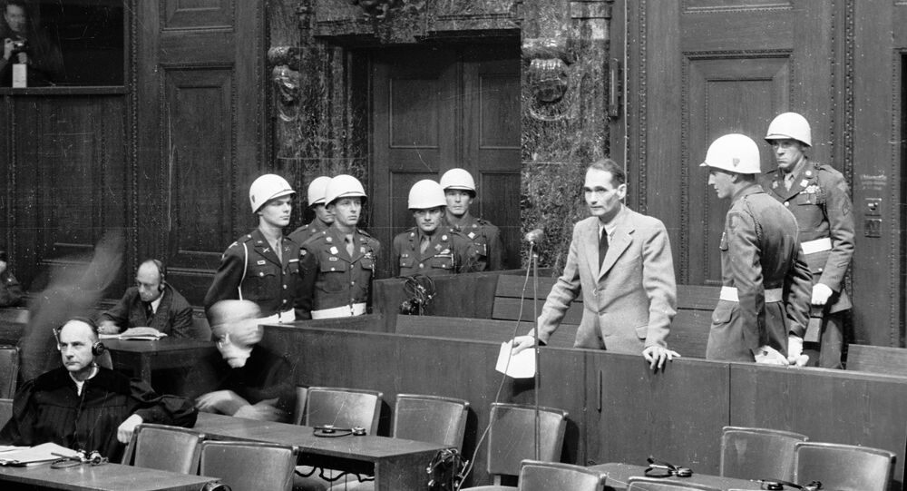 Convict Hess making a statement that he is not going to continue pleading his insanity. The Nuremberg Tribunal.