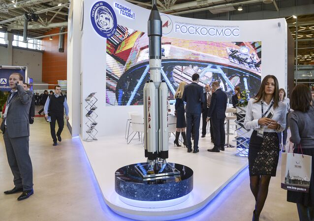 Stand of the Roskosmos Federal Space Agency at the forum and fair for honest public procurement in Moscow.
