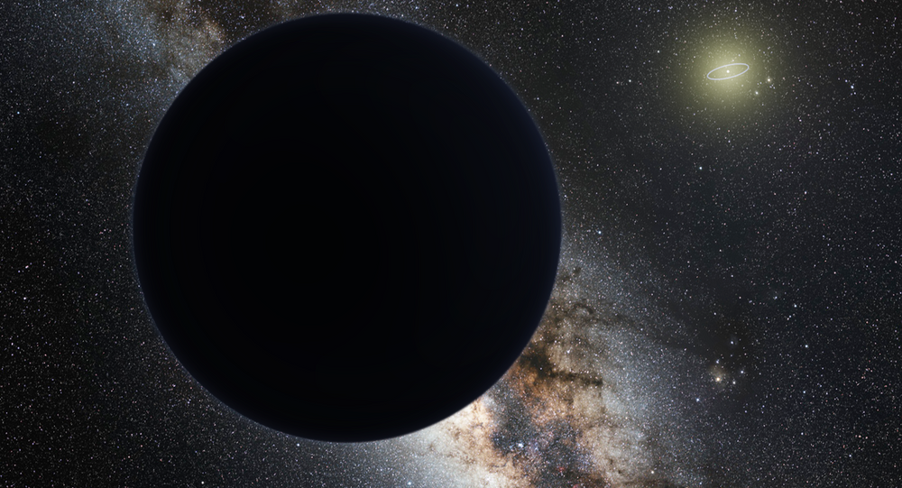 Artist's impression of Planet Nine as an ice giant eclipsing the central Milky Way, with a star-like Sun in the distance. Neptune's orbit is shown as a small ellipse around the Sun.